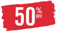 50% off RED banner
