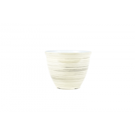FEATHER POT STRIPED WHITE 38CM