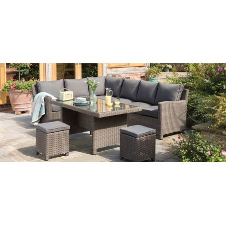 Palma Casual Dining Corner Set Rattan (RH) with Side Table